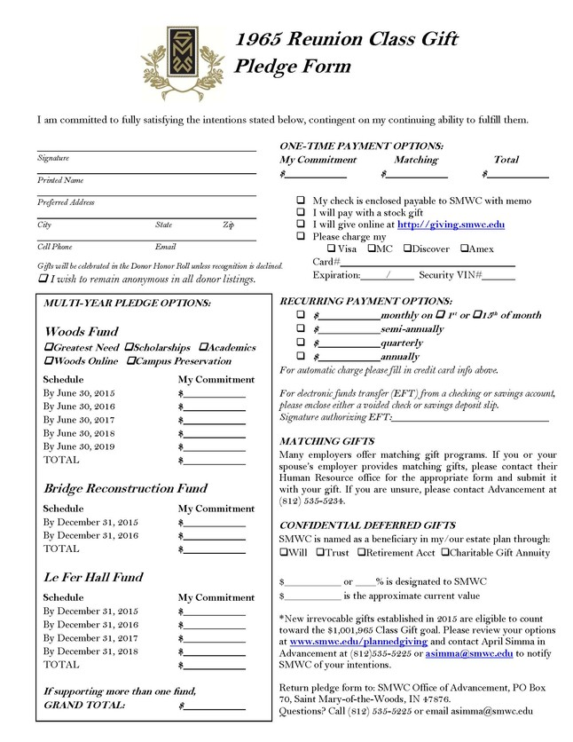 Class Gift Pledge Form